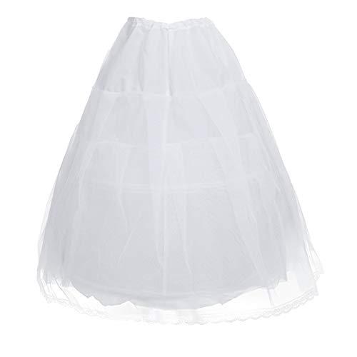 Freebily Kids Girls Hoopless Petticoat Long Crinoline Skirt Full Slip Flower Dress White 2 Hoop Underskirt White (2 Hoops) Medium