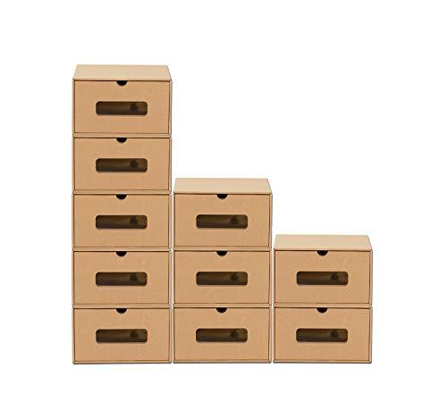 BigDean 10er Boxen-Set mit Schublade & Sichtfenster - Pappkarton aus Kraftpapier - Schuhbox Spielzeug-Box Aufbewahrung für Zubehör & Accessoires