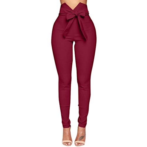 LEEDY Ausverkauf! Hosen Damen Hohe Taille Bogen Pluderhosen Frauen Bowtie elastische Taille beiläufige Hosen Yogahose Leggings
