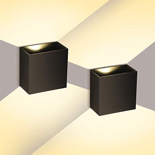 2 Stücke LED Modern Wandleuchten 6W Innen/Außen Wandlampen Ip65 Wandbeleuchtung für Wohnzimmer Schlafzimmer Treppenhaus, 3000K Warmweiß, Schwarz