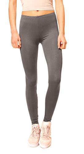 Easy Young Fashion Damen Basic Viscose Jersey Leggings Leggins Lang Uni Einfarbig One Size Dunkelgrau
