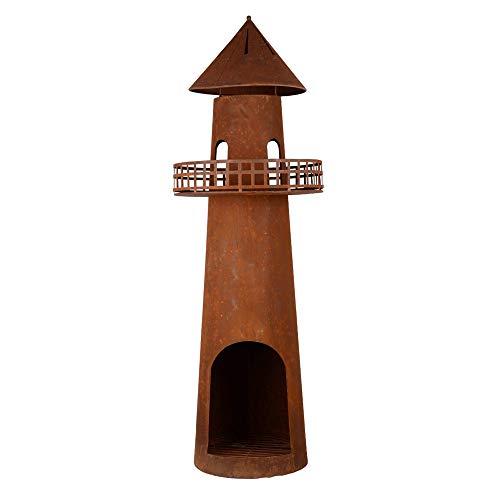 RM Design Gartenkamin Leuchtturm aus Edelrost als Feuerschale für den Garten 131 cm