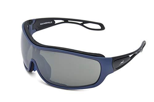 Gamswild Sonnenbrille WS3332 Sportbrille Fahrradbrille Skibrille Damen Herren Unisex | blau | rot | weiß, Farbe: Blau