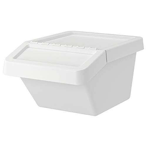 My Stylo Collection Cubo de basura con tapa, blanco, 37 L, tamaño montado: ancho: 41 cm, profundidad: 55 cm, altura: 28 cm, capacidad: 37 L