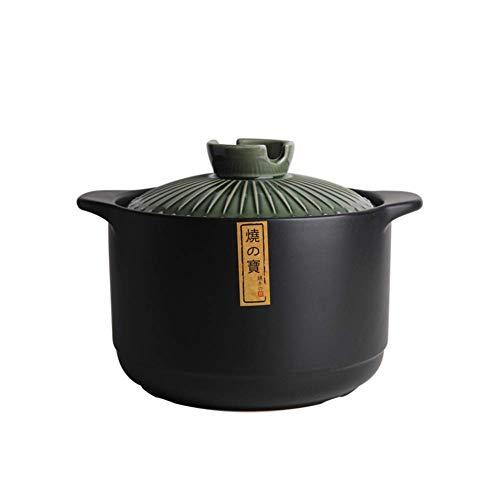 XH&XH Cocotte en céramique Japonaise Grande capacité Marmite à rôtir Profonde Soupe à Haute résistance à Haute température Casserole Plat en Terre Cuite Pot en Terre Cuite Vert foncé 4,5 Quart (4,