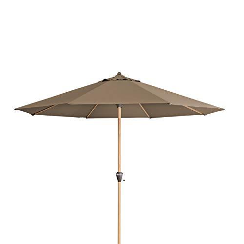 Doppler Alu Wood 350 – Runder Sonnenschirm für Balkon und Terrasse – Moderne Holzoptik – 350 cm – Greige