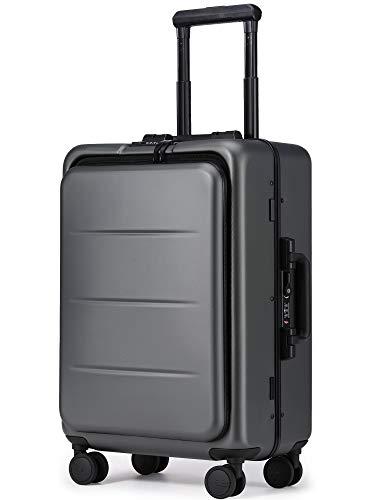 Roam.Cove フロントオープン スーツケース 軽量 機内持ち込み キャリーケース キャリーバッグ 静音 ビジネス 日乃本キャスター TSAロック 出張 高品質モデル シンプル おしゃれ (グレー, 約36L,2~3泊)