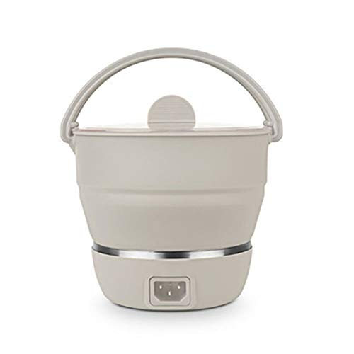 Yiyu Electric Cooking Pot Foldable Stove Dual Voltage100v-240V Portable Electric Pan Mini Kettle Food Grade Silicone Cookware Boiling Water Steamer Portable Travel x (Color : White)