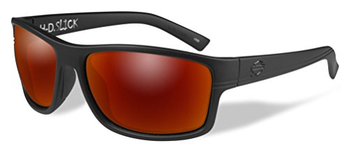 Harley-Davidson Men's Slick Sunglasses, Red Mirror Lens/Black Frames HASLK11