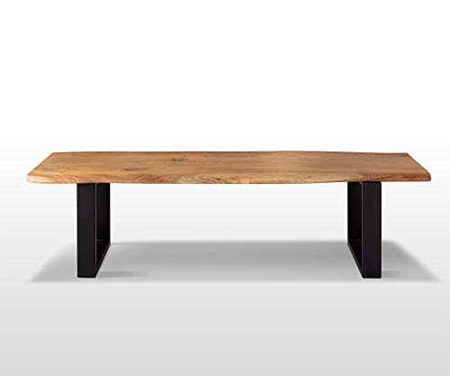 AISER Royal Massive Echt-Holz Sitzbank Baumkantenbank -Kopenhagen- 200 x 44 cm aus besonders schön gezeichnetem Akazien-Holz mit schwarzen Metall-Beinen in modernem zeitlosen Design