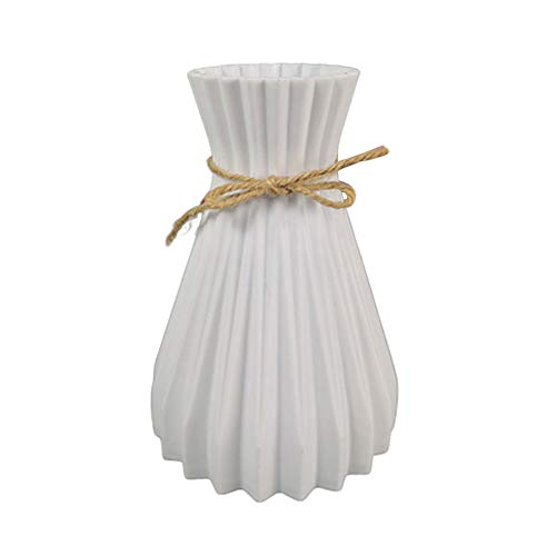 123 Life Jarrón nórdico, jarrón de plástico con cuerda de cáñamo, florero para flores moderno, jarrón personalizado para decoración de mesa, hogar, oficina o decoración de boda