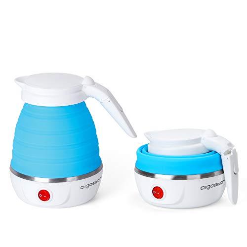 Aigostar Sapphire - Hervidor electrico plegable de viaje, doble voltaje 100~240V, mango Cool Touch, hasta 1000W de potencia, capacidad de 600 ml, recalentamiento automatico. Libre de BPA.