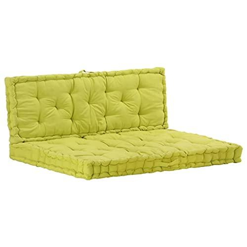 vidaXL Coussins de Plancher de Palette 2 pcs Canapé de Patio Sofa de Terrasse Coussin de Siège Banc de Jardin Extérieur Coton Vert