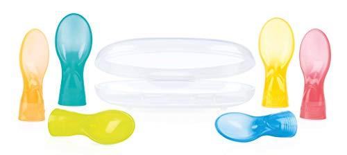 Nuby ID5597 Löffelaufsätze für Quetschbeutel mit Aufbewahrungsbox, 2er Pack, mehrfarbig