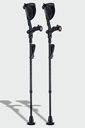 Ergobaum® Black Mamba by Ergoactives. 1 Pair (2 Units) of Ergonomic Forearm Crutches - Adult 5' - 6'6'' Adjustable (Real Carbon Fiber Material)