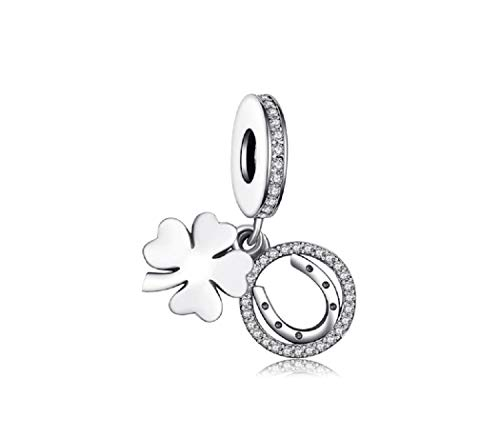 FeatherWish 925 Sterling Silver Lucky Four Leaf Clover And Horseshoe Pendant Dangle Charm With Cubic Zirconia Compatible With Pandora Bracelet