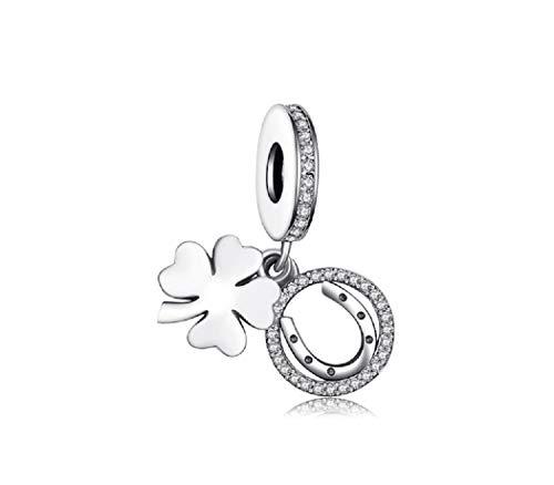 FeatherWish Ciondolo in argento Sterling 925 a forma di quadrifoglio portafortuna e ferro di cavallo, con zirconia cubica, compatibile con braccialetti Pandora