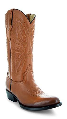 Soto Boots Mens Classic Round Toe Cowboy Boots H7001 (Tan, 13)