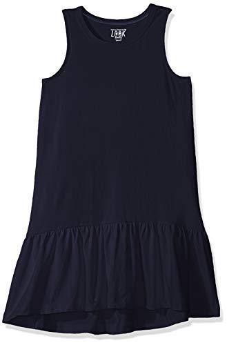 Look by Crewcut - Vestido sin mangas, con dobladillo y volante para niña, Marino, 8