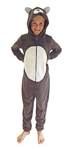 Mädchen Jumpsuit Overall Onesie Schlafanzug in niedlichen Tier Motiven - 291 467 97 606, Größe:164, Farbe:Bär