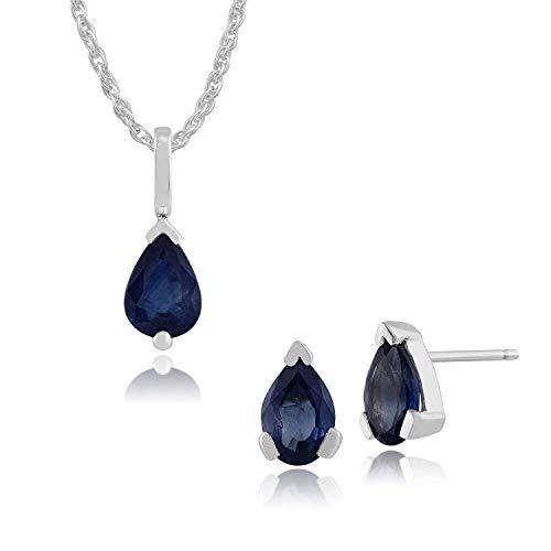 Gemondo 9ct White Gold Blue Kanchanaburi Sapphire Pear Stud Earring & 45cm Necklace Set
