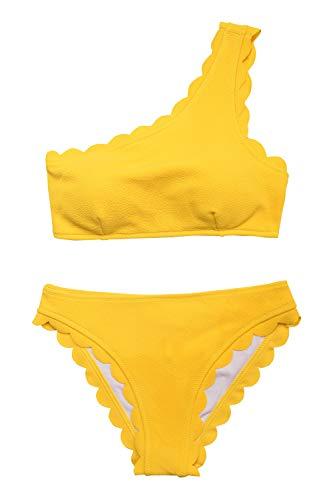 CUPSHE Regen von Blütenblätter Solid Bikini Anzug, Gelb, M