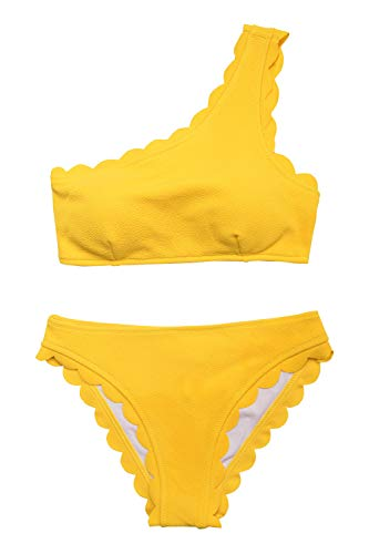 CUPSHE Women's Solid Wavy Edge One-Shoulder Bikini Set Rain of Petals Yellow