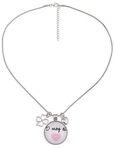 Leslii Damen-Kette Trachten-Kette Dirndl-Kette Oktoberfest Herz Kurze Halskette Silberne Modeschmuck-Kette Silber Pink