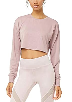 Mippo Cropped Long Sleeve Tops for Women Athletic Shirt Activewear Flowy Cropped Crewneck Sweatshirts Gym Exercise Clothes Dance Tops Thumb Hole Shirt Pink S