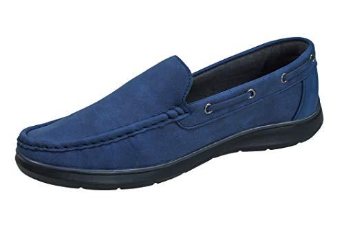 Evoga Mocassini uomo casual eleganti estivi scarpe espadrillas Barca (41, A2 Blu)