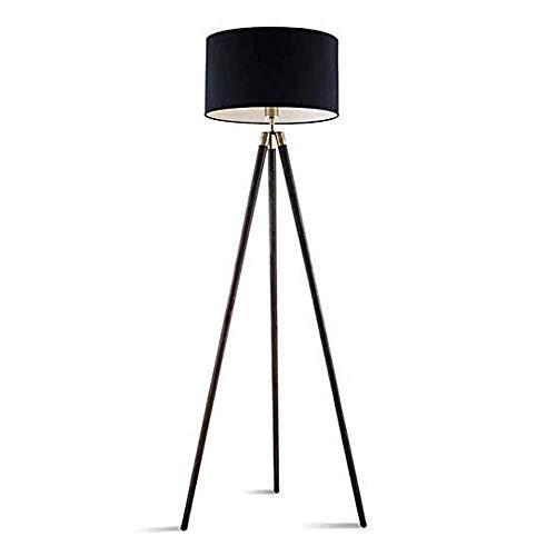 XYUN Woonkamer, hotel, kamer, staande lampen, massief houten vloerlamp, TC stof, lampshade voor woonkamer, slaapkamer, leesafstandsbediening, hoge paal, verticaal vloerlicht, 9 W afstandsbediening