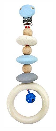 Hess 12816 - Holzspielzeug, Wagenhänger aus Holz, nature blau