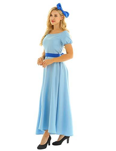 iiniim Vestido Wendy Mujer Vestido de Princesa Largo Azul Manga Corta Traje de Cosplay Fiesta Ceremonia de Halloween Disfraz Adulto de Princesa Elagente Fancy Dress Azul Small