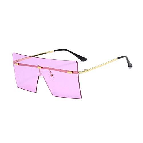 Gafas de sol de una pieza recortadas sin marco Gafas de sol de moda Gafas de sol cuadradas con montura grande Mujeres-Marco dorado Hoja morada