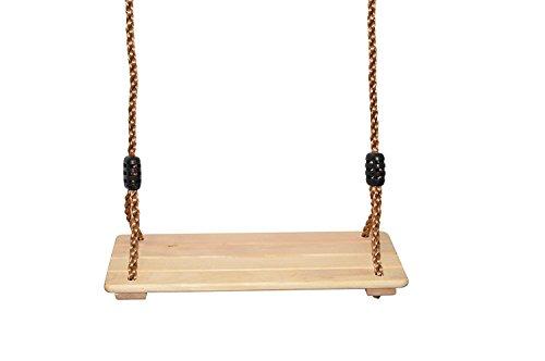Columpio Infantil Para Exterior / Interior – Asiento de madera sólida con cuerdas regulables para niños | Ideal para colgar del árbol en el jardín / terraza o del techo en el cuarto de juegos