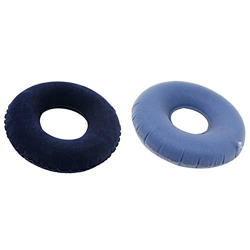 SNOWINSPRING 2 Set Inflatable Pile Ring Pad Donut Pillow Vinyl Rubber Seat Acne-Blue & Black
