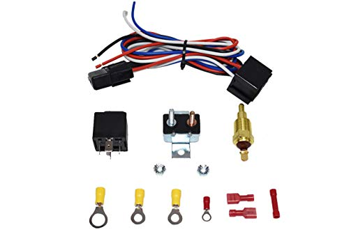 A-Team Performance Electric Cooling Radiator Fan Relay Kit With Thermostat Installation Hardware Wiring Set 180 to 200 Degrees Temp Sensor Temperature Switch 40 Amp Relay