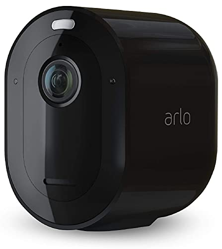 Arlo Pro4 Spotlight, Telecamera di videosorveglianza WiFi senza fili, Faro e sirena integrati, Sensori movimento, Video 2K, Visione notturna a colori, Audio 2 vie, non richiede base Arlo, Nero