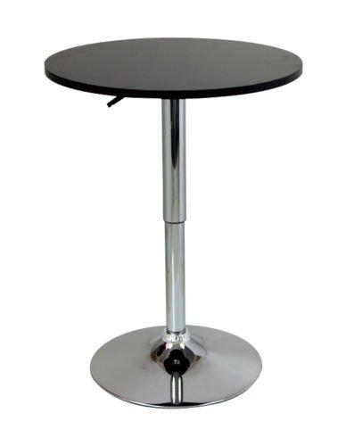 eSituro Mesa de Bar Mesa de Comedor Mesa de Cocina Mesa de Jardín, Ajustable en Altura y Giratoria 360 °, Mesa Redondo φ 60 cm, Negro SBST0091