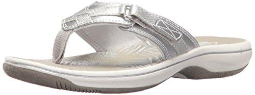 Clarks Women's Breeze Sea Flip-Flop, New Silver Synthetic, 10