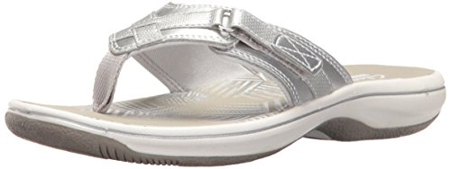 Clarks Women's Breeze Sea Flip Flop, New Silver Synthetic, 5 B(M) US
