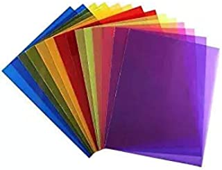 INNKER 14pcs Lighting Gel Filter Film Plastic Film Sheets Color Correction Gel Dyslexia Colored Overlays Transparency Sheets for Reading Flash, 8.5 by 11 inches, 7 Colors