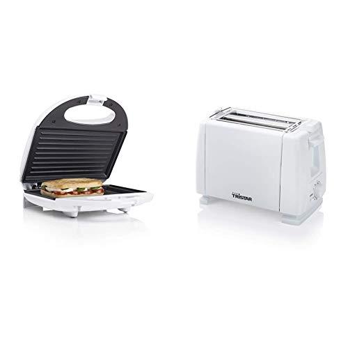 Tristar SA-3050 Sandwichera grill con placas de parrilla, tamaño compacto con compartimento para cable, potencia de 750 W, recubrimiento antiadherente + Br-1009 Tostadora, 650 W, Metal, 2 Ranuras