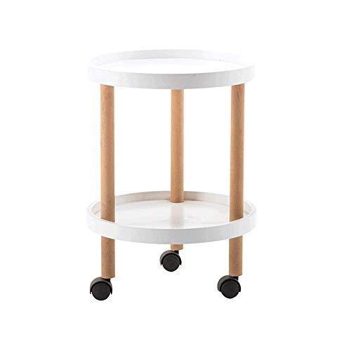 LXDDP Weißer Beistelltisch Beistelltisch Couchtisch Rund für Wohnzimmer, Lounges, Arbeitszimmer usw. mit Rollen - 45 cm x 62 cm