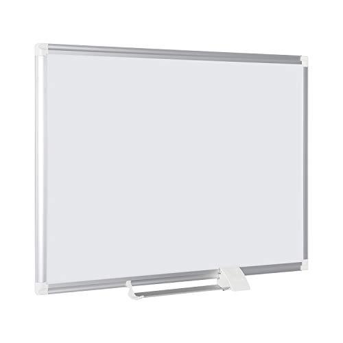 Bi-Office Tableau Blanc New Generation, Magnétique en Acier Laqué, Cadre en Aluminium, Porte-Marqueur Coulissant, 90 x 60 cm