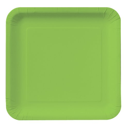 Creative Converting Touch of Color 18 Count Square Paper Dinner Plates, Fresh Lime