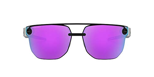 Oakley Men's OO4136 Chrystl Metal Square Sunglasses, Matte Black/Prizm Violet, 67 mm
