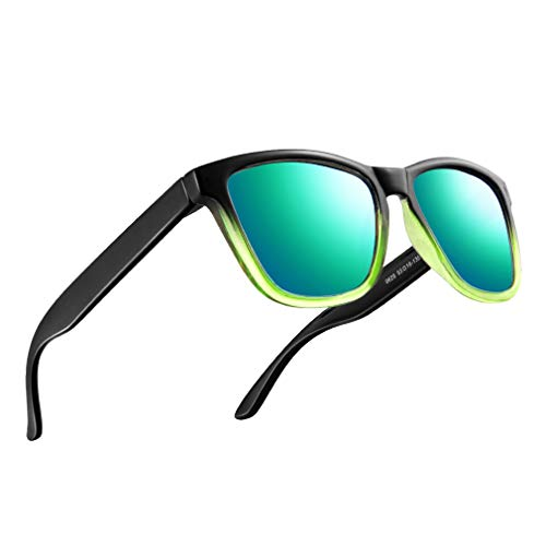 FEIDU Retro Polarisierte Damen Sonnenbrille- Herren Sonnenbrille Outdoor UV400 Brille,Farblinse, Strandreisen unerlässlich für Fahren Angeln Reisen FD 0628 (4-Farbverlauf-Grün, 60)