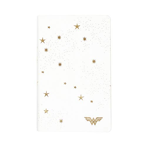 """Erin Condren & Wonder Woman 5"""" x 8"""" Softbound/Soft Cover Notebook & Journal (College Ruled) - Wonder Woman White & Metallic Gold Cover and Layflat Binding Design 124 Pages of Thick 80# Mohawk Paper"""