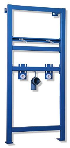 Lavita Domino Base Montage-Element für Waschtisch mit Einlocharmatur, Vorwandelement selbsttragend für Waschbecken, pulverbeschichteter Rahmen, Höhe 111-134 cm einstellbar